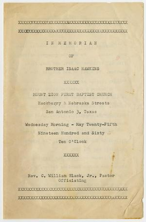 Primary view of object titled '[Funeral Program for Isaac Hawkins, May 25, 1960]'.
