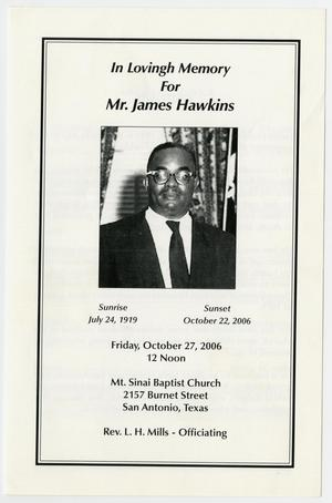 Primary view of object titled '[Funeral Program for James Hawkins, October 27, 2006]'.