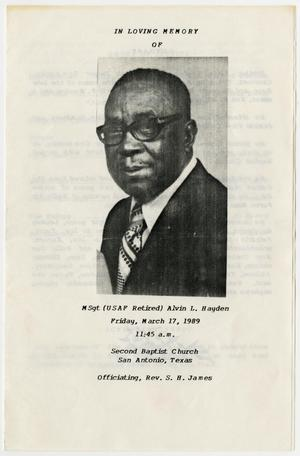 Primary view of object titled '[Funeral Program for Alvin L. Hayden, March 17, 1989]'.