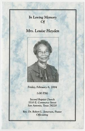 Primary view of object titled '[Funeral Program for Louise Hayden, February 6, 2004]'.