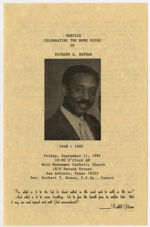 [Funeral Program for Richard A. Hayman, September 11, 1992]