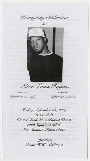 Primary view of object titled '[Funeral Program for Alton Louis Haynes, September 28, 2007]'.