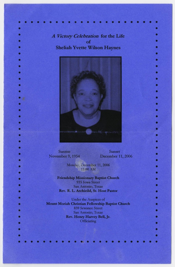 Funeral Program For Sheliah Yvette Wilson Haynes