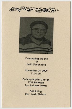 Primary view of object titled '[Funeral Program for Keith Lionel Hays, November 24, 2009]'.