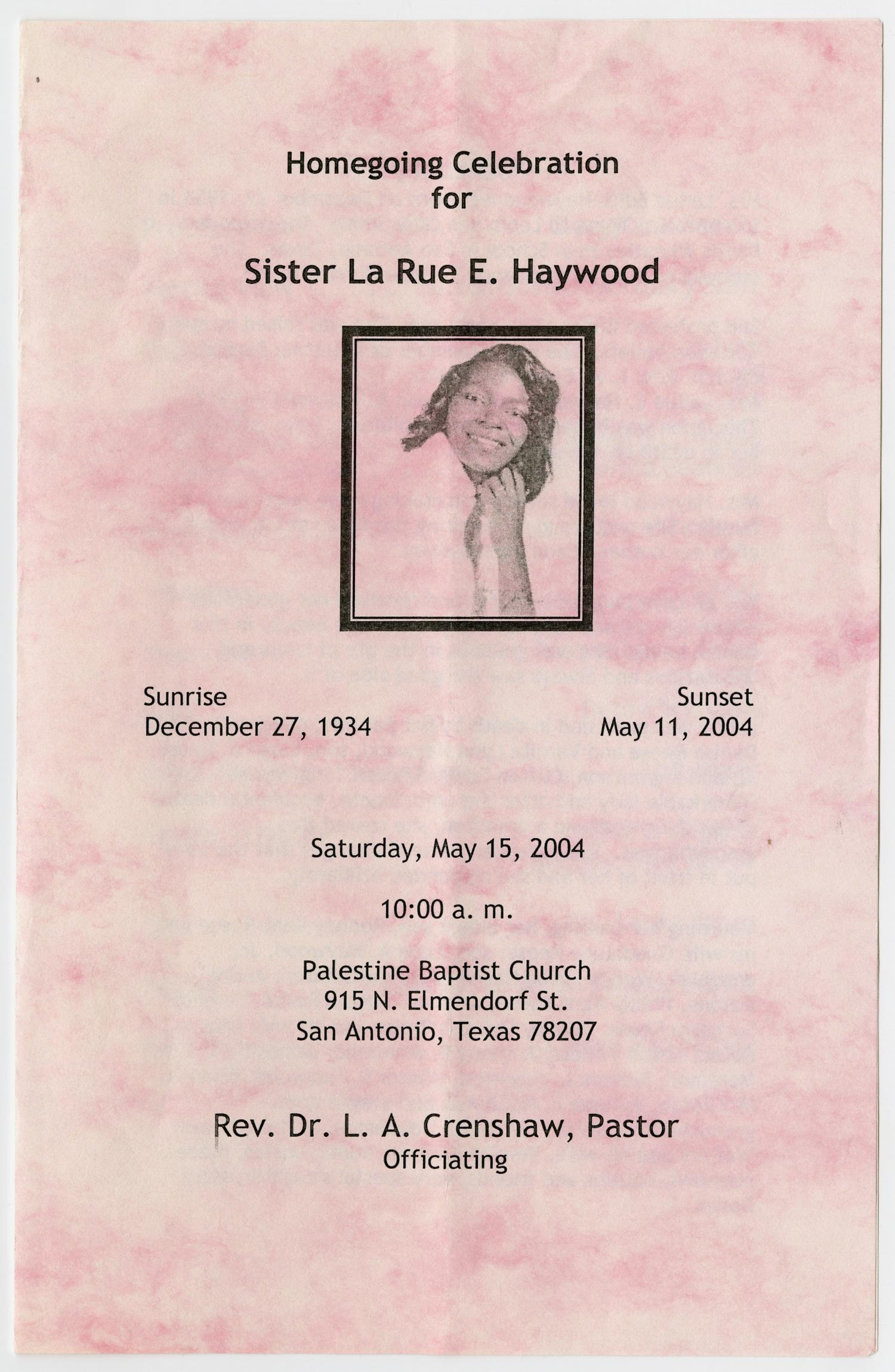 [Funeral Program for La Rue E. Haywood, May 15, 2004]                                                                                                      [Sequence #]: 1 of 3