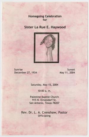 Primary view of object titled '[Funeral Program for La Rue E. Haywood, May 15, 2004]'.