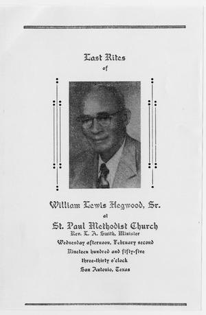 Primary view of object titled '[Funeral Program for William Lewis Hegwood, Sr., February 2, 1955]'.