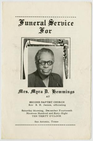 Primary view of object titled '[Funeral Program for Myra D. Hemmings, December 14, 1968]'.