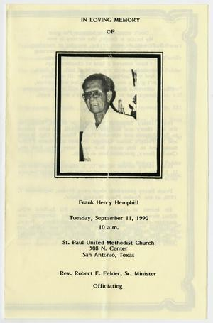 Primary view of object titled '[Funeral Program for Frank Henry Hemphill, September 11, 1990]'.