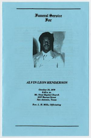 Primary view of object titled '[Funeral Program for Alvin Leon Henderson, October 19, 1979]'.