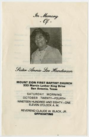 Primary view of object titled '[Funeral Program for Annie Lee Henderson, October 24, 1981]'.