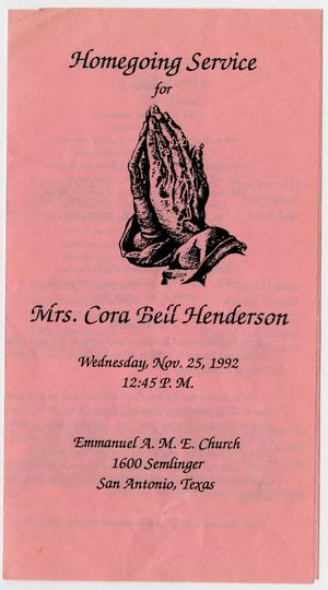 Primary view of object titled '[Funeral Program for Cora Bell Henderson, November 25, 1992]'.