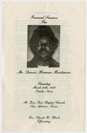 Primary view of object titled '[Funeral Program for Dennis Herman Henderson, March 24, 1983]'.
