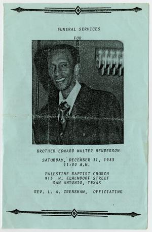 Primary view of object titled '[Funeral Program for Edward Walter Henderson, December 31, 1983]'.