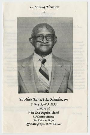 Primary view of object titled '[Funeral Program for Ernest L. Henderson, April 9, 1993]'.