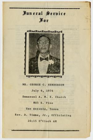 Primary view of object titled '[Funeral Program for George C. Henderson, July 6, 1976]'.