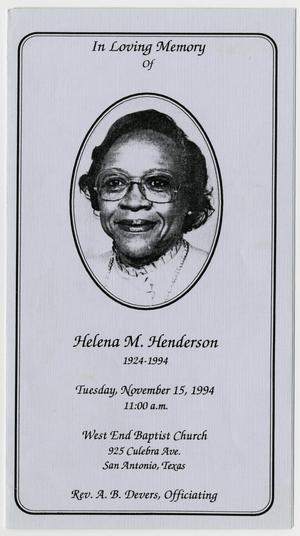 Primary view of object titled '[Funeral Program for Helena M. Henderson, November 15, 1994]'.