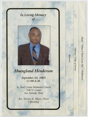 [Funeral Program for Huengland Henderson, September 24, 2003]