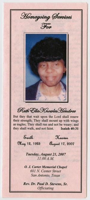 Primary view of object titled '[Funeral Program for Ruth Ella Knowles Hendree, August 21, 2007]'.