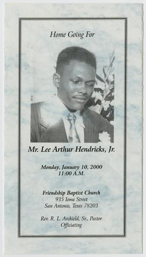 Primary view of object titled '[Funeral Program for Lee Arthur Hendricks, Jr., January 10, 2000]'.
