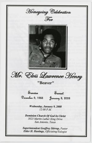 Primary view of object titled '[Funeral Program for Elvis Lawrence Henry, January 9, 2008]'.