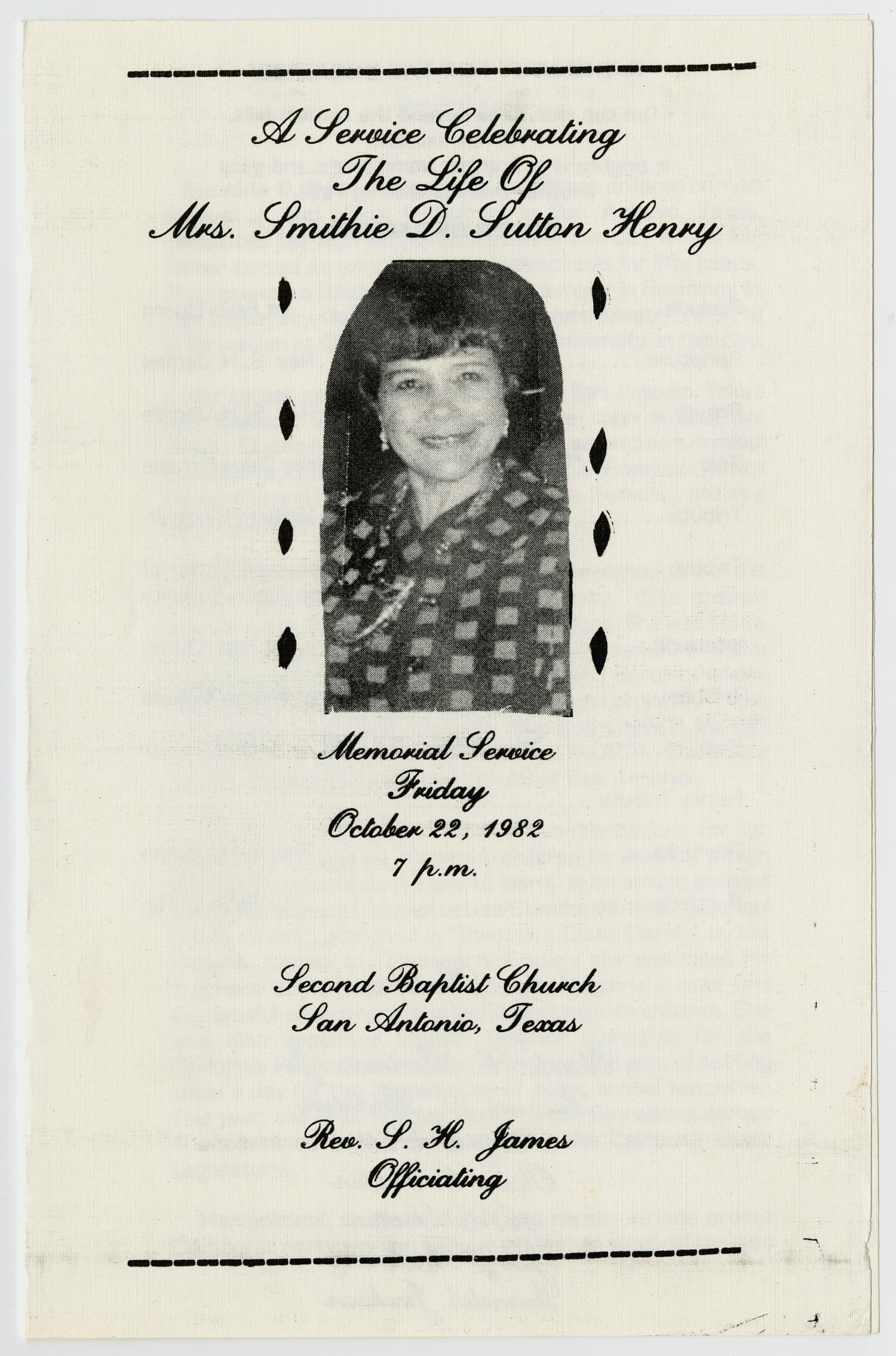 [Memorial Program for Smithie D. Sutton Henry, October 22, 1982]                                                                                                      [Sequence #]: 1 of 3