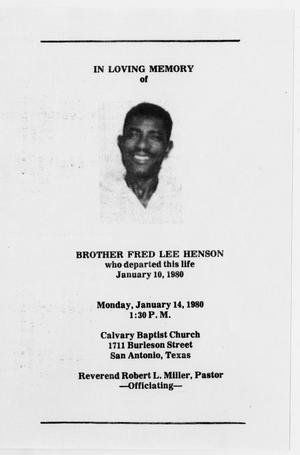 Primary view of object titled '[Funeral Program for Fred Lee Henson, January 14, 1980]'.