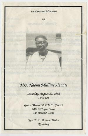 Primary view of object titled '[Funeral Program for Naomi Mullins Hewitt, August 22, 1992]'.