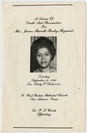 Primary view of object titled '[Funeral Program for James Marcelle Burley Heyward, September 14, 1982]'.