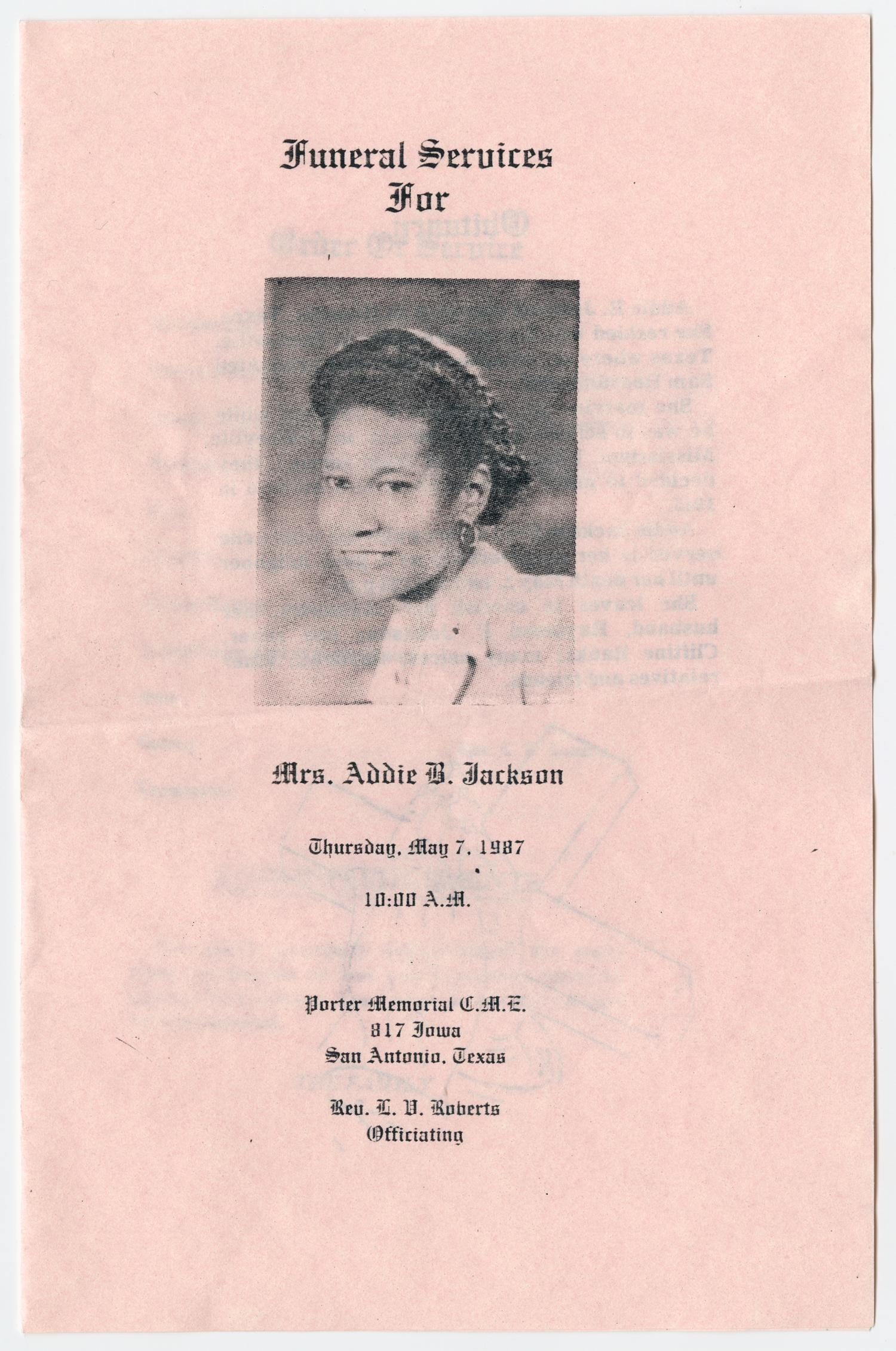 [Funeral Program for Addie B. Jackson, May 7, 1987]                                                                                                      [Sequence #]: 1 of 3