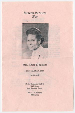 [Funeral Program for Addie B. Jackson, May 7, 1987]