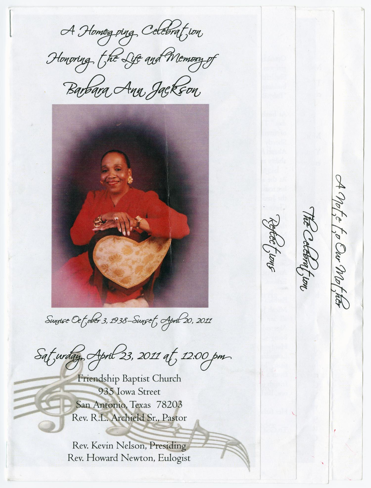 [Funeral Program for Barbara Ann Jackson, April 23, 2011]                                                                                                      [Sequence #]: 1 of 5