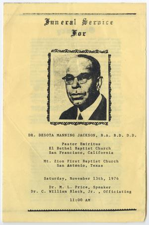 Primary view of object titled '[Funeral Program for Desota Manning Jackson, November 13, 1976]'.