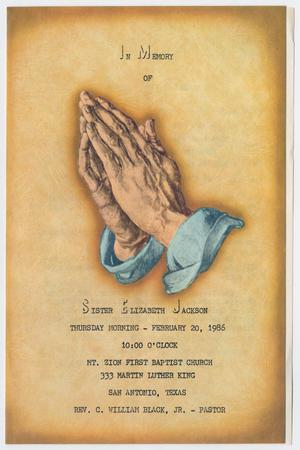 Primary view of object titled '[Funeral Program for Elizabeth Jackson, February 20, 1986]'.