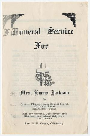 Primary view of object titled '[Funeral Program for Emma Jackson, June 17, 1965]'.