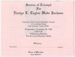 Primary view of object titled '[Funeral Program for Evelyn L. Taylor Wade Jackson, December 20, 1989]'.