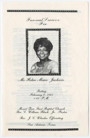 Primary view of object titled '[Funeral Program for Helen Marie Jackson, February 8, 1985]'.