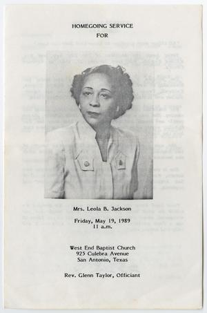 Primary view of object titled '[Funeral Program for Leola B. Jackson, May 19, 1989]'.