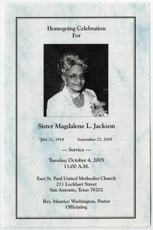 Primary view of object titled '[Funeral Program for Magdalene L. Jackson, October 4, 2005]'.