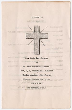 Primary view of object titled '[Funeral Program for Mamie Lee Jackson, July 4, 1960]'.