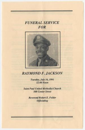 Primary view of object titled '[Funeral Program for Raymond F. Jackson, July 16, 1991]'.