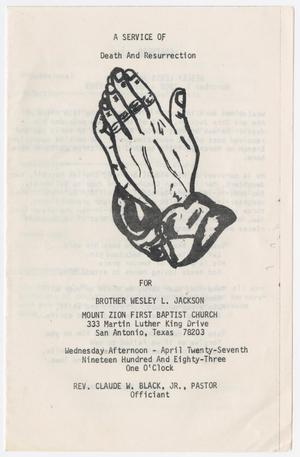 Primary view of object titled '[Funeral Program for Wesley L. Jackson, April 27, 1983]'.