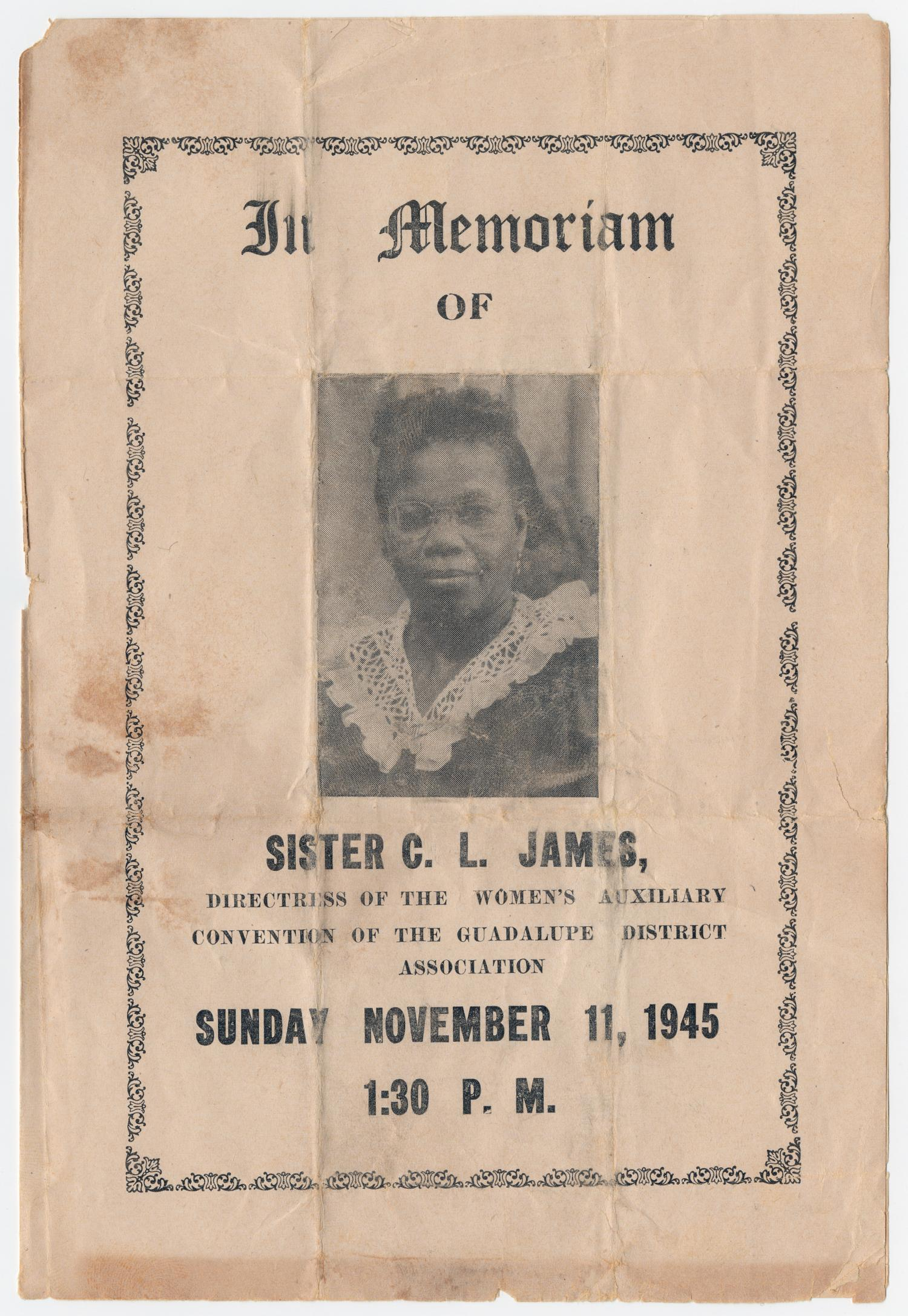 [Funeral Program for C. L. James, November 11, 1945]                                                                                                      [Sequence #]: 1 of 3