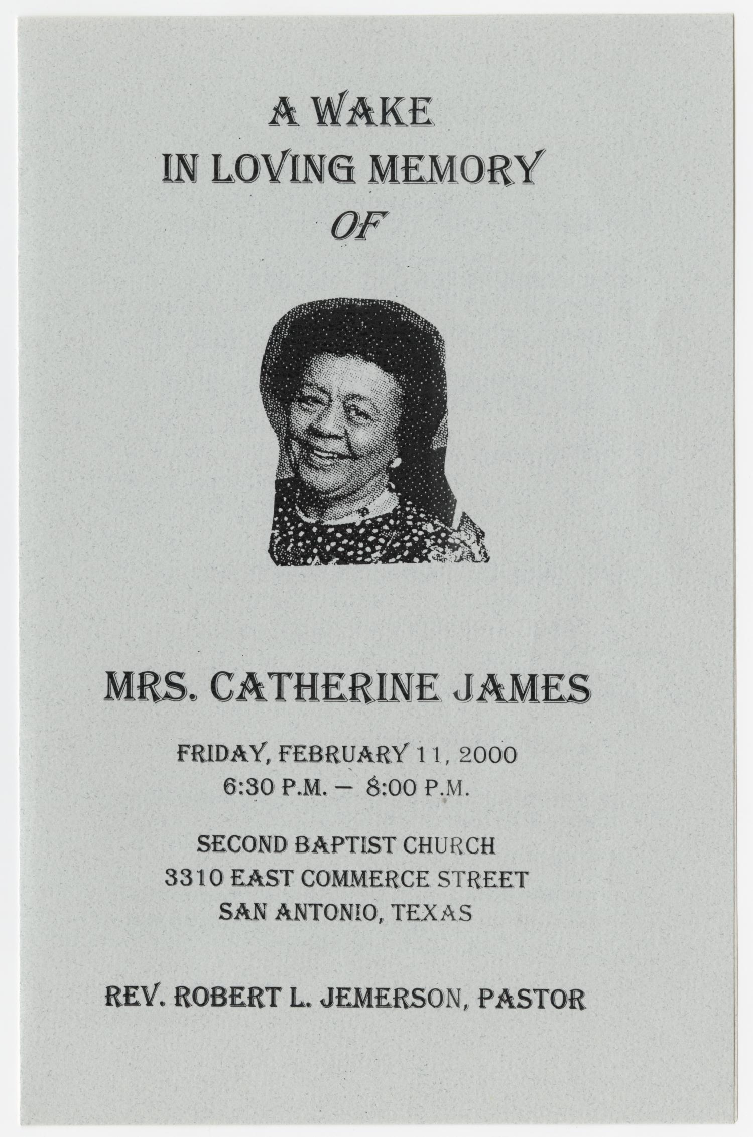[Wake Program for Catherine James, February 11, 2000]                                                                                                      [Sequence #]: 1 of 5