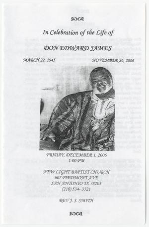 Primary view of object titled '[Funeral Program for Don Edward James, December 1, 2006]'.