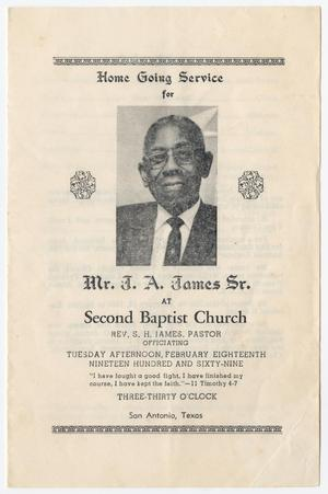 Primary view of object titled '[Funeral Program for J. A. James, Sr., February 18, 1969]'.
