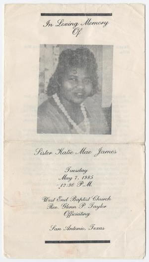 Primary view of object titled '[Funeral Program for Katie Mae James, May 7, 1985]'.
