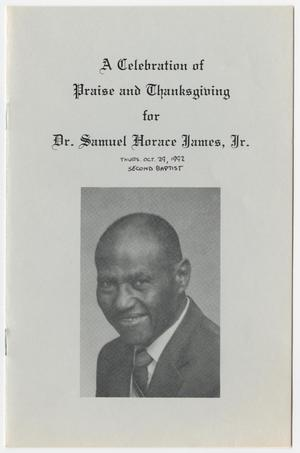 Primary view of object titled '[Funeral Program for Samuel Horace James, Jr., October 29, 1992]'.