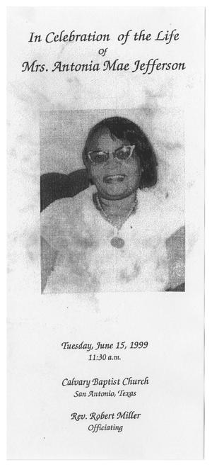 Primary view of object titled '[Funeral Program for Antonia Mae Jefferson, June 15, 1999]'.