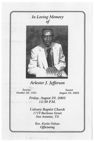 Primary view of object titled '[Funeral Program for Arlester J. Jefferson, August 29, 2003]'.